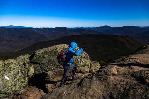 A man hiking up Mont Lafayette on the Franconia Ridge Trail