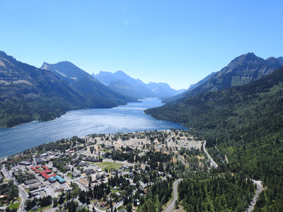 View on the small village of the Waterton Lakes from the Bears Hump hiking trail