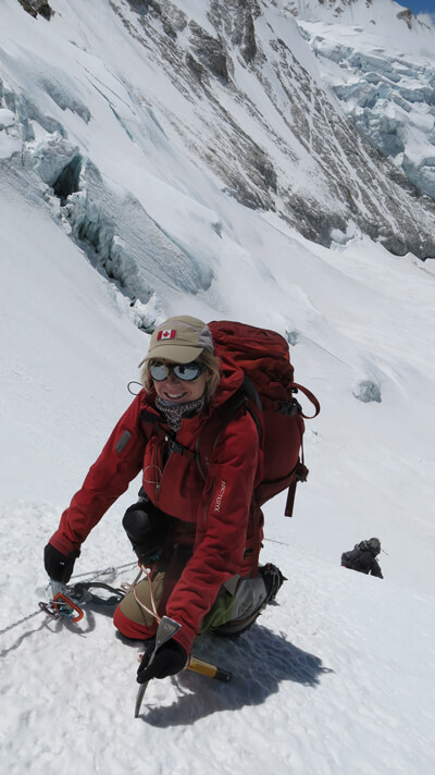 The Canadian alpinist Monique Richard climbing with her LOWA Alpine boots